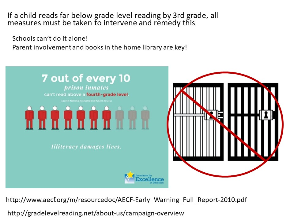 f a child reads far below grade level reading by 3rd grade, all measures must be taken to intervene and remedy this.